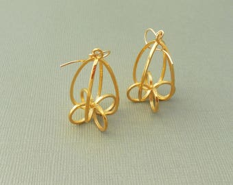 Finials - 18KT Gold Plated Earrings Made with 3D Printing | Made-to-order | 3D Printed Earrings | Cast metal
