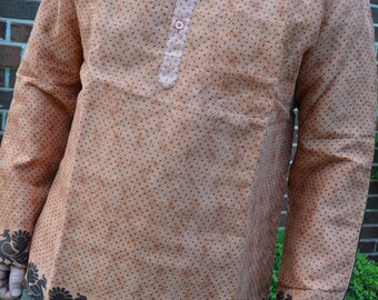 Men's Handmade Indian Woven Cotton Lined Long Sleeve Banded Round Collar Winter Warmth Dress Shirt - Rust Dot - Hafeez I929