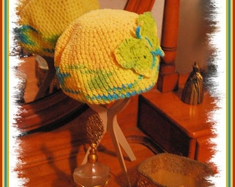 Crocheted Beanie with Large Butterfly