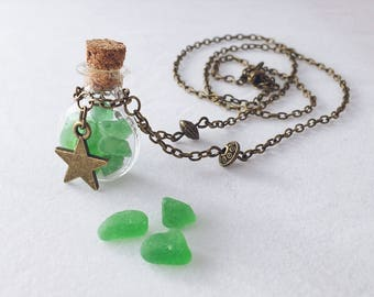 Tiny bottle necklace with green sea glass, vial with sea glass, potion bottle necklace, magic wish necklace, sea glass, sea tresures
