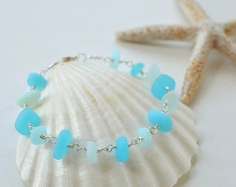 Blue sea glass bracelet aqua blue sea foam sea glas jewelry seafoam seaglass jewelry beach glass beach jewelry handmade bracelet gift ideas