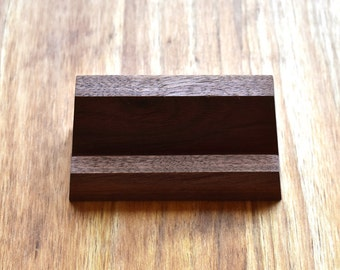 "Black Walnut Wood Business Card Holders - Holds Standard Business Card Size 3.5"" x 2"""