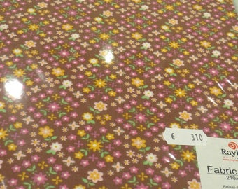 """Praline adhesive A4 """"daisy"""" fabric: floral on Brown background"""