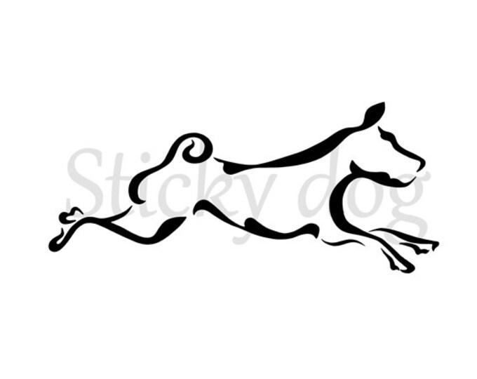 Basenji running tribal sticker