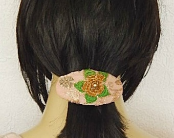 Pink green beaded hair barrette, embroidered barrette, fabric barrette, oval barrette, ponytail holder, floral hair clip, hair accessory