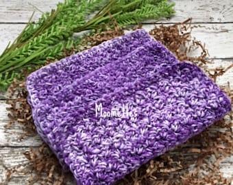 Dishcloth Set Handmade Kitchen Crochet Dish Cloths Violet Purple Crochet Washcloth Eco Friendly Cotton Dishcloths Set of 3