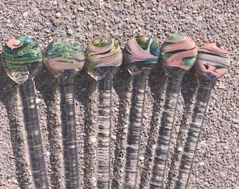 High End Drink Stir Sticks Pyrex Glass Swizzle Sticks OOAK COLOR Pink Sands Beach by OceanBeachGlass