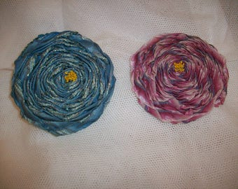 Antique silk/metal ribbon work authentic 1910s cabochon roses