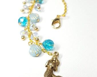 Planner Charm. Long dangle. Gold Mermaid. Czech Glass. Seashell. Beaded. Handmade. Blue. Ocean.