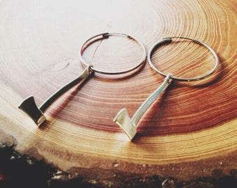 hoop earrings | silver axe hoop drop earrings | ax axe jewelry | portland timbers | portland oregon