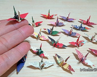 """Lot of 132pcs 1.5"""" Multi-colored Japanese Design Hand-folded Origami Paper Cranes. (JD Paper Series) #FC15-84a."""