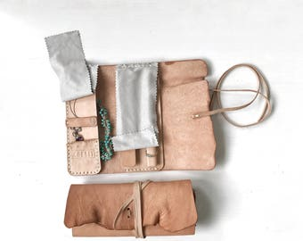 Artisan leather jewelry roll, a traveller accessories case, Personal size