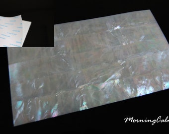 White Mother-of-Pearl Coated Adhesive Veneer Sheet (MOP Shell Overlay Inlay Luthier Nacre Craft)