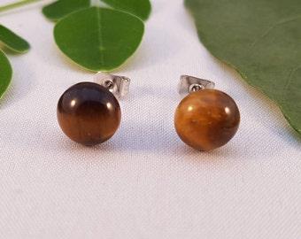 Tiger Eye Natural Gemstone Stud Earrings - Hypo-Allergenic Surgical Steel