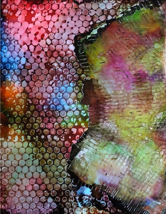 """Original Alcohol Ink Abstract Painting: """"Distortions"""""""