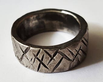 Rustic Mens Ring, Forged and Hammered, Stainless Steel Mens wedding Band, Unique Men's ring