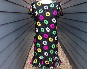 Vintage Silk Dress // Vintage Akira Dress // Vintage Abstact Dress // Vintage Floral Dress