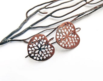 Copper print antiqued brass earrings