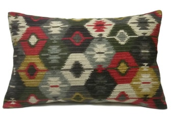 Decorative Lumbar Pillow Cover Red, Taupe, Brown, Gold, Dark Green, Same Fabric Front/Back, Toss, Throw, Accent, 12x18 inch  x