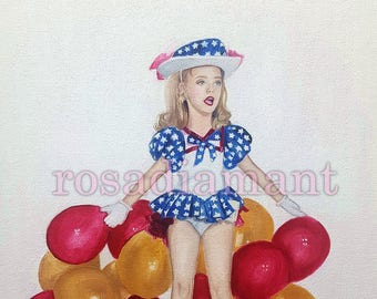 Rare one of a kind Jonbenet Ramsey 9 x 12 unframed original oil painting