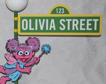 Sesame Street Sign with Lamppost and Abby Cadabby character or Elmo or Other