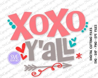 Svg,dxf digital design-182- XoXo y'all Cut Files Cricut, vector file, vinyl decal, wedding svg, Valentine's Day SVG, heart svg, cupid svg