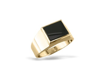 Mens black onyx ring Mans solid signet gold ring