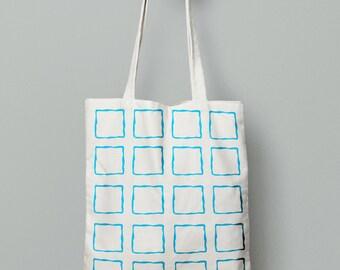 Blue tote bag, geometric tote, modern canvas tote bag