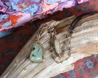 Prehnite Necklace with Smoky Quartz and Vegan Suede