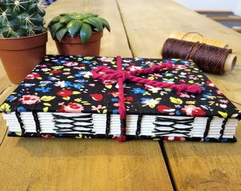 A6 Hand bound Notebook, Diary, Sketchbook, Journal | Black Floral