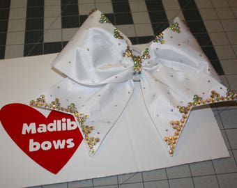 White fabric cheer bow with Swarovski crystals