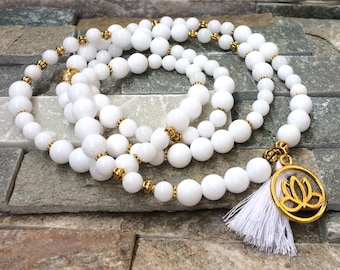 Mala 108 pearl Necklace tassel Buddha Lotus Jade Mala Necklace