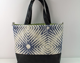 Extra Large Lulu Tote with Capri Blue and PU Leather -READY to SHIP  Beach Dance Travel Bag 7 pockets