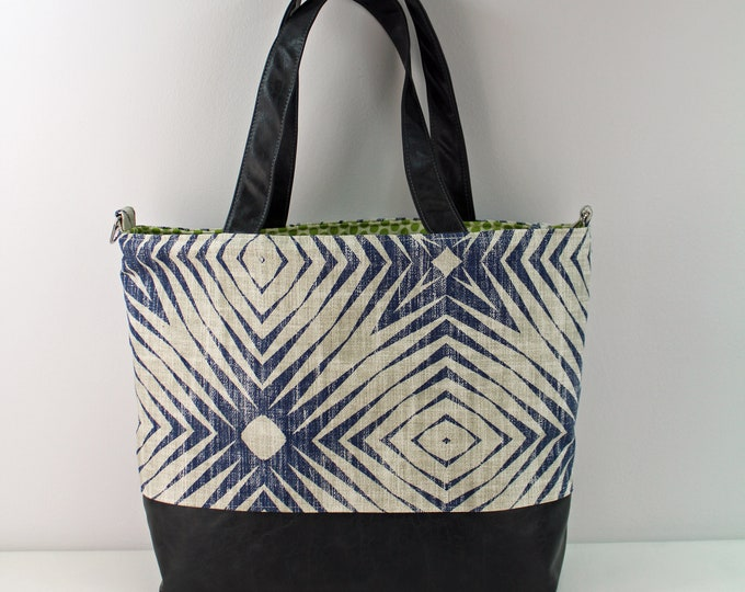 Extra Large Lulu Tote with Capri Blue and PU Leather -READY to SHIP