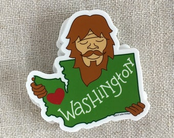 Bigfoot Loves Washington Vinyl Sticker / Waterproof Bumper Sticker / Cool Laptop Sticker / Illustrated Sasquatch Sticker / Cute Bigfoot