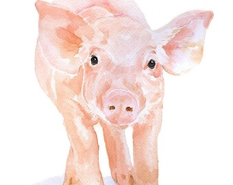 Pig Watercolor Painting - 5 x 7 - Giclee Print - Fine Art Piglet Nursery Art - Farm Animal
