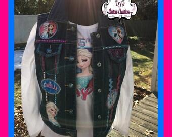 Custom Denim jean Frozen Vest, Frozen Vest, Frozen Jean Vest