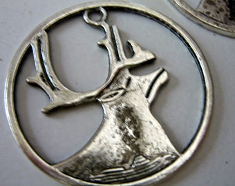 Antiqued silver deer charm buck  pendant jewelry findings supplies 36mm  drw45  quantity 2
