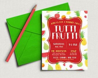 Tutti Frutti Party Invitation. Summer Party Tutti Frutti. Birthday, Pool, Just Because Party. Fruit Theme. Digital Invite.