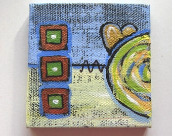 """Original abstract acrylic gold heart painting on canvas, miniature painting, mini wood easel, love art canvas, 3"""" x 3"""", Valentine, gift idea"""