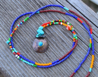 turquoise and stamped copper bead strand