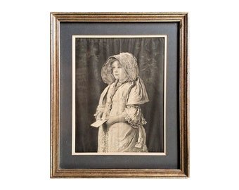 Antique Photogravure Print Sir John Millias A Letter for the Squire Wood Frame
