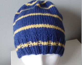 Man's blue and yellow hat