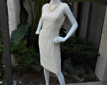 Vintage 1960's Jay Herbert Cream Colored Dress with White Sequins - Size 6