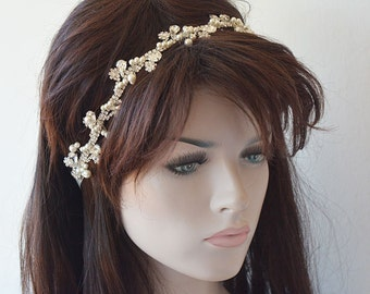 Wedding  Rhinestone Headband, Pearl  Headband, wedding headpiece, Bridal  Hair Jewelry