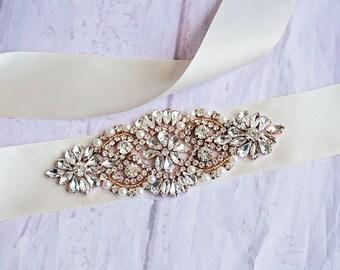 Gold Rhinestone Bridal Belt...Ivory Bridal Sash..Gold Flower Sash / Belt Flower Girl Sash..Gray Bridal Belt/ Gray Sash..Maternity Sash