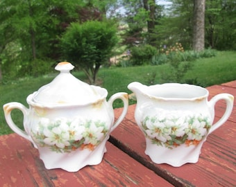 Vintage Porcelain Sugar Bowl and Creamer - Gold Opalescence - Made in Germany - 1950s/ 1960s
