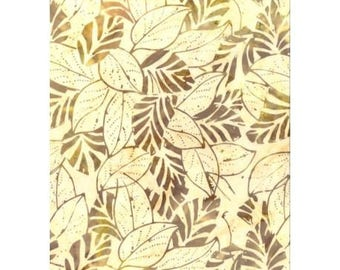 Patchwork fabric batik pattern of leaves, tone beige and off-white/yellow, 100% cotton REF 116/9201