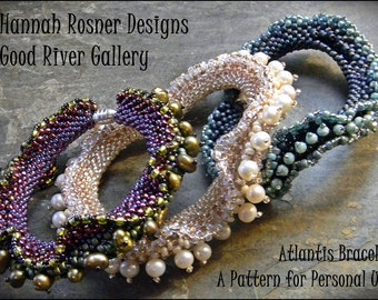 Bead Tutorial Atlantis Beaded Bracelet peyote stitch pattern instructions by Hannah Rosner - intermediate level