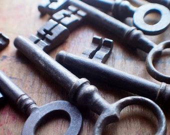 Large Authentic Antique Iron French Double Bit Skeleton Keys - Instant Collection - Old Gothic Church Keys - European Cross Keys